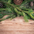 Christmas tree branches with bumps on wooden background — Stock Photo
