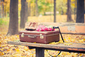 Vintage suitcase, scarf, boots and umbrella on bench — Stock Photo
