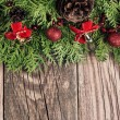 Christmas decoration with fir tree branches — Foto Stock