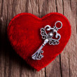 Vintage key and red heart — Stock Photo