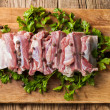 Raw pork ribs on a cutting board — Stock Photo