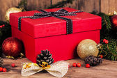 Gift box with christmas elements — Stock Photo