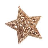 Golden christmas star on white background — Stock Photo