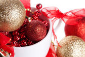 White cup with christmas decoration — Stock Photo