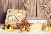 Gift boxes with christmas decoration — Stock Photo