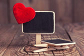 Blackboard with red heart — Stock Photo