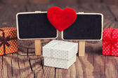 Blackboard with red heart — Stok fotoğraf