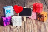 Pizarra con corazón rojo — Foto de Stock