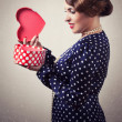 Womwith heart-shaped box — Stock Photo #40036893