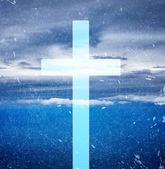 Cross on grunge background — Stock Photo