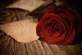 木制背景上红玫瑰 — 图库照片