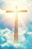 Cross in sunrays — Zdjęcie stockowe