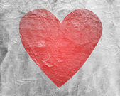 Red heart on paper — Foto Stock