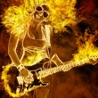 Young woman with guitar in fire flames — Stock Photo