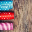 Rolls of colored wrapping paper — Stock Photo
