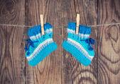 Gebreide baby sokken — Stockfoto