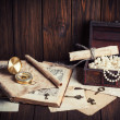 Treasure chest, compass and old map — Stock Photo #48875205