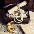 Treasure chest, compass and old map — Stock Photo #48875291