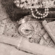 Treasure chest, compass and old map — Stock Photo #48875325