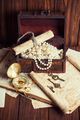 Treasure chest, compass and old map — Stok fotoğraf