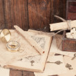 Treasure chest, compass and old map — Stock Photo #50499253