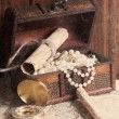 Treasure chest, compass and old map — Stock Photo #50499259