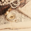 Treasure chest, compass and old map — Stock Photo #50499275