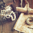 Treasure chest, compass and old map — Stock Photo #50499285