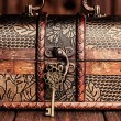 Vintage key and old treasure chest — Stock Photo #50499289