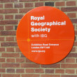 Royal Geographical Society sign — Stock Photo