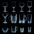 Clean empty glassware collection isolated on black — Stock Photo