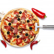 Pizza with ingredients isolated on white — Stock Photo
