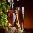 Beer with brewery hop and wheat — Stock Photo #13759231