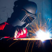 Working welder — Foto Stock