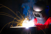 Welding with sparks — Stockfoto