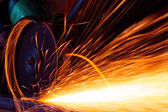 Sparks while grinding iron — Foto Stock