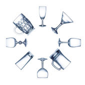 Circle of clean empty glassware isolated — Stok fotoğraf