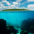 Tropical underwater shot splitted with island and sky — Stock Photo