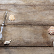 Weathered vintage wooden background with bootle, ropes and shells — Stock Photo