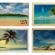 Vintage postage stamps with tropical palms and island — Stock Photo #27196365