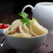 Steamed meat dumplings, traditional pelmeni or varenyky dish — Stock Photo