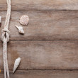 Weathered wooden table background with rope reef knot and shells — Stock Photo