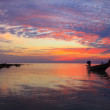 Sunset over sea with fisherman boat panorama — Stock Photo
