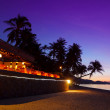 Restaurant at tropical beach with coconut palms during sunset — Stock Photo