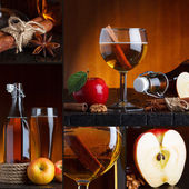 Apple cider beautiful collage — Stock Photo