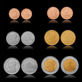 Thailand coins collection. 25, 50 satang, 1, 2, 5, 10 baht (thb). Size and proportion retained. Isolated on black. — Stock Photo
