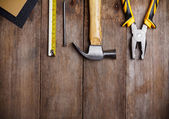 Instrumentów stół drewniany — Zdjęcie stockowe