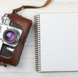 Blank notebook with fountain pen and retro camera — Stok Fotoğraf #38841379