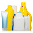 Healthcare, hygiene and cleaning products in plastic containers — Stock Photo