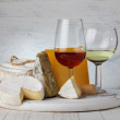 Stock Photo: Cheese and wine